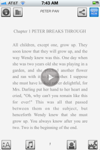 Reading Peter Pan on Booktrack