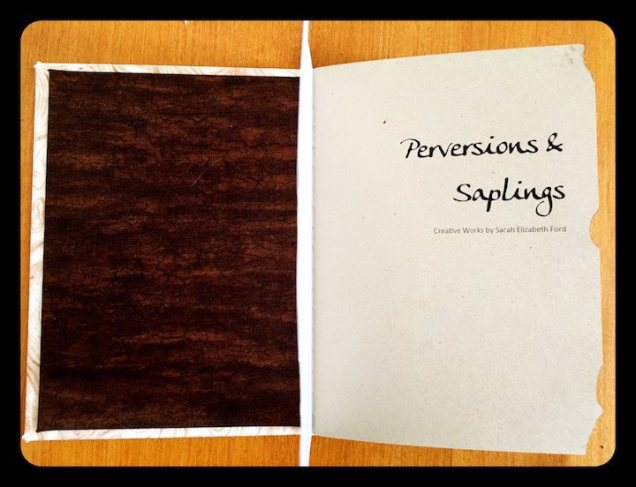 "The inside cover to Ford's chapbook, ""Perversions & Saplings"""